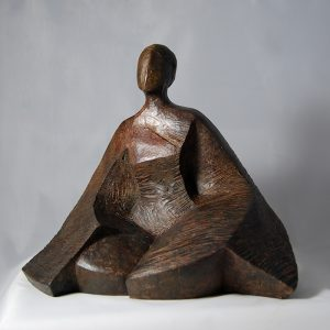sculpture en bronze -assise meditative