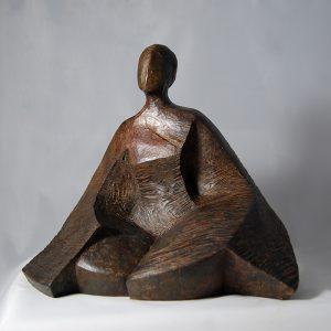 sculpture en bronze -assise meditative