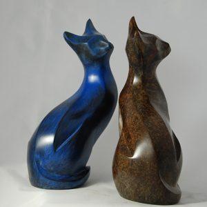 sculpture en bronze - chat - titre Curieuse