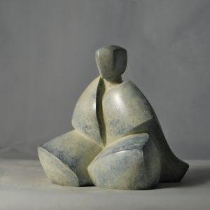 sculpture en bronze pose meditation