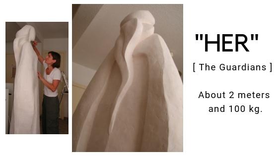 """alt="""" Her - Camy's sculpture in plaster"""""""