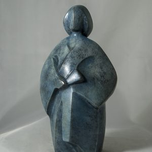 sculpture en bronze - petite femme en kimono